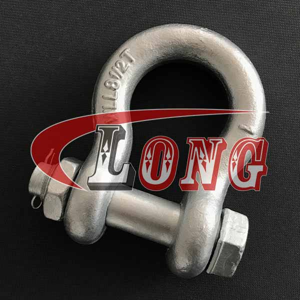 Safety Bolt Anchor Shackles Galvanized China, Bolt Type bow shackles G2130