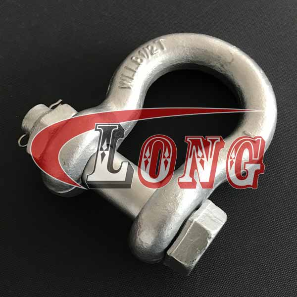 US Bolt Type shackles China, Galvanized safety Bolt bow shackle,
