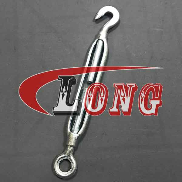 JIS Turnbuckle Forged Steel Frame Type per Federal Specification FF-T-791b. Eye, Jaw and Hook fittings are heat treated. The Frame is carbon steel, hot dipped an